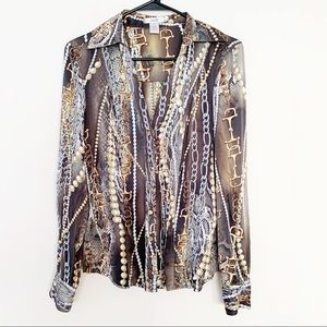 Cache Silk Versace Print Luxe Button Up Blouse